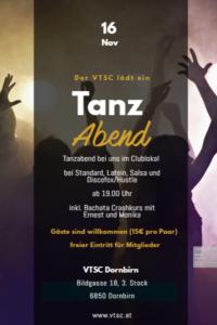 Tanzabend mit Bachata Crashkurs @ VTSC Dornbirn
